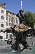 Italy, Lazio, Rome, Quirinal Hill, Piazza Barberini, Bernini's Fontana del Tritone.