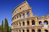 Italy, Lazio, Rome, The Colosseum amphitheatre built by Emperor Vespasian in AD 80, View of a section of the south side.