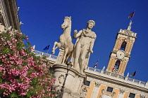 Italy, Lazio, Rome, Piazza del Campidoglio designed by Michelangelo, Angular view of the Statue of Castor with the Palazzo Senatorio in the background.