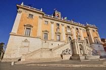 Italy, Lazio, Rome, Piazza del Campidoglio designed by Michelangelo, Angular view of the Palazzo Senatorio.