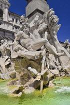 Italy, Rome, Piazza Navona, Fontana dei Quattro Fiumi  or Fountain of the Four Rivers, Zeus statue.