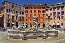 Italy, Rome, Piazza Navona, Fontana del Nettuno or Fountain of Neptune.
