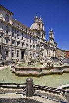 Italy, Rome, Piazza Navona, Fontana del Moro or The Moor Fountain.