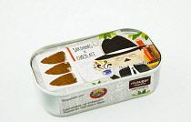 Portugal, Estremadura, Lisbon, Chocolate sardine confectionery in tin.