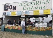 England, Oxfordshire, Leon's Vegetarian food stall at Fairport's Cropredy Convention.