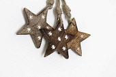 Festivals, Christmas, Cut out wooden star decorations.