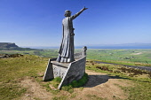 Northern Ireland, County Derry, Binevenagh Mountain with a statue of Manannan Ma Lir the Celtic God of the Sea overlooking Lough Foyle.