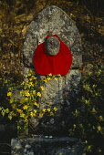Japan, Religion, Roadside memorial with red cloth tied around stone structure and vase of yellow flowers.