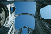 Portugal, Lisbon, Igreja do Carmo. View looking up to skeletal arches of the Carmelite church ruined in the earthquake of 1755 dating from the late 14th century.