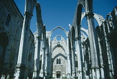 Portugal, Lisbon, Igreja do Carmo, View of skeletal arches of the Carmelite church ruined in the earthquake of 1755 dating from the late 14th century.