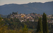 Italy, Tuscany, Lucca, Barga, View across toward the historic hilltop town.