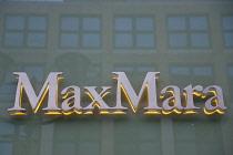Germany, Berlin, Mitte, Friedrichstrasse, Max Mara fashion shop sign.
