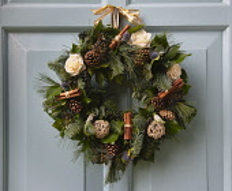 Religion, Festivals, Christmas, Floral wreath decoration on door.