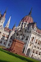 Hungary, Budapest, Hungarian Parliament Building with Statue of Rakoczi Ferenc 2nd or Francis Rakoczi 2nd.