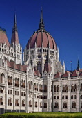 Hungary, Budapest, Early morning light on the rear of the Hungarian Parliament Building.