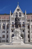 Hungary, Budapest, Statue of Count Gyula Andrássy, Hungary's Prime Minister between 1867 and 1871 with Hungarian Parliament Building behind.