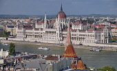 Hungary, Budapest, View across the River Danube to the Hungarian Parliament Building from Fishermans Bastion on Castle Hill.