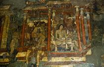 India, Maharashtra, Ajanta Caves, Detail of wall painting in Buddhist cave.