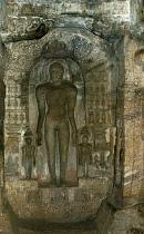 India, Karnataka, Badami, Carvings in Jain cave temple.