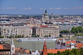 Hungary, Budapest, River Danube with St Stephens Basilica as seen from Castle Hill.