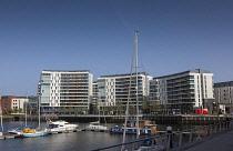 Ireland, North, Belfast, Titanic Quarter, Modern riverside apartment  buildings.