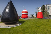 Ireland, North, Belfast, Titanic Quarter, Visitor centre designed by Civic Arts & Eric R Kuhne with steel Buoys.