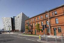 Ireland, North, Belfast, Titanic Quarter, Visitor centre designed by Civic Arts & Eric R Kuhne.