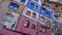 Austria, Vienna, the colourful Hundertwasserhaus  apartment block, built from the idea and concept of Austrian artist Friedensreich Hundertwasser with architect Joseph Krawina as a co-creator.