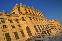 Austria, Vienna, Schonbrunn Palace, golden evening light on the rear facade.