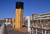 Ireland, County Antrim, Belfast, Titanic Quarter, Funnels of the restored SS Nomadic a former tender for the White Star Line shipping company  that was once used to transfer mail and passengers to and...
