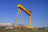 Ireland, County Antrim, Belfast, Queens Island, One of the two Harland and Wolff cranes known as Samson.