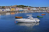 Ireland, County Down, The waterfront of Portaferry town seen from the ferry to Strangford.