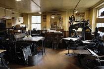 England, County Durham, Beamish, Interior of Print shop.