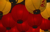 Japan, Detail of Red and White illuminated Paper Lanterns.