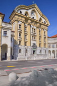 Slovenia, Ljubljana, Angular view of the Ursuline Church of the Holy Trinity in Kongresni Trg or Congress Square.