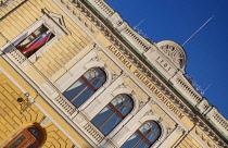 Slovenia, Ljubljana, The facade of the Philharmonic Hall in Kongresni Trg.