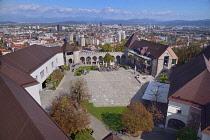 Slovenia, Ljubljana, Vista of the city from Ljubljana Castle's Watchtower.