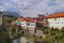 Slovenia, Upper Carniola, Skofja Loka, The Capuchin Bridge over the  Selska Sora River.