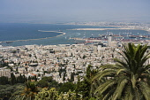 Israel, Haifa, The city and ocean port as viewed from Mount Carmel.