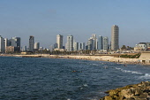 Israel, Jaffa, The beaches and modern development on the Mediterranean Sea.