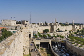 Israel, Jerusalem, Armenian Quarter, The city wall of Jerusalem near the Jaffa Gate with the Tower of Phasael at left and the minaret of the Tower of David or the Citadel in the center. At right is th...