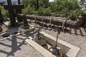 Israel, Jerusalem, BYU Center, A reproduction of an ancient lever based press for extracting olive oil on display at the Jerusalem Center for Near Eastern Studies of Brigham Young University on the Mo...
