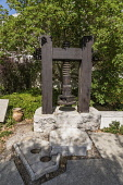 Israel, Jerusalem, BYU Center, A reproduction of a direct-pressure screw press for extracting olive oil on display at the Jerusalem Center for Near Eastern Studies of Brigham Young University on the M...