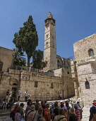 Israel, Jerusalem, The minaret of the Mosque of Omar, located next to the courtyard of the Church of the Holy Sepulchre in the Christian Quarter of the Old City. The Old City of Jerusalem and its Wall...