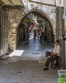 Israel, Jerusalem, A shopping street in the Christian Quarter of the Old City. The Old City and its Walls is a UNESCO World Heritage Site.