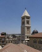 Israel, Jerusalem, The bell tower of the Luthern Church of the Redeemer and the gray dome of the Sisters of Zion Convent in the Christian Quarter of the Old City. The Old City of Jerusalem and its Wal...