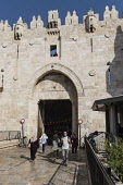 Israel, Jerusalem, The Damascus Gate on the north side of the Old City. The Old City of Jerusalem and its Walls - UNESCO World Heritage Site.