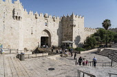Israel, Jerusalem, The Damascus Gate on the north side of the Old City of Jerusalem. The Old City and its Walls - UNESCO World Heritage Site.