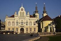 Romania, Timis, Timisoara, Serbian Orthodox Bishop's House and Serbian Orthodox church on Piata Uniri, old town.