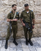 Israel, Jerusalem, Mount Zion, Israeli Defense Force soldiers on duty. The area around King David's Tomb has been the site of conflicts between ultra-orthodox Jewish radical activists and Christian pi...